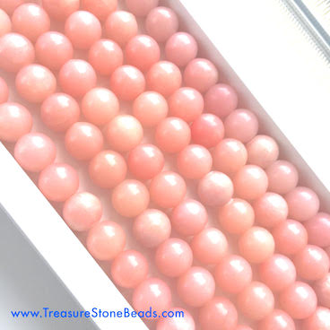 Bead, Chinese Pink Opal, Round, 6mm. 16 inch strand