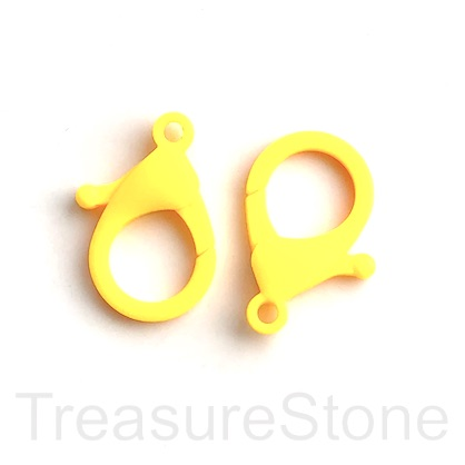 Lobster Clasp, plastic, yellow, 35x25mm. Pack of 6.
