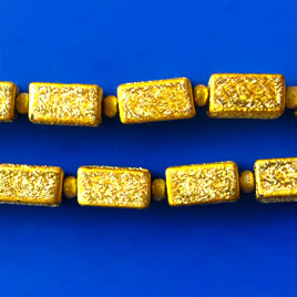 Bead, plated, gold, 6x11mm. Pkg of 17.