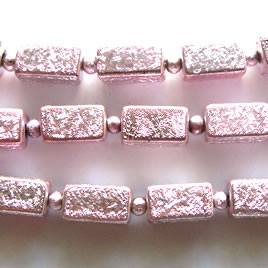 Bead, plated, light pink, 6x11mm. Pkg of 17.