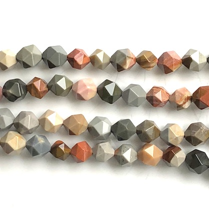 "Bead, Poly Chrome jasper, 8mm star cut, faceted nugget. 15"", 49"