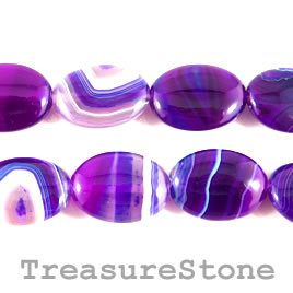 Bead, agate (dyed), purple, 18x24mm oval. 15.5-inch