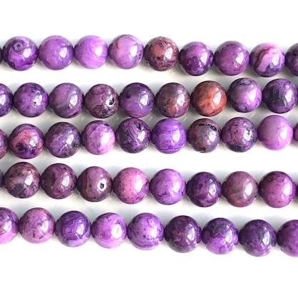 Bead, purple crazy lace agate, dyed, 8mm round. 15.5 inch, 49pcs