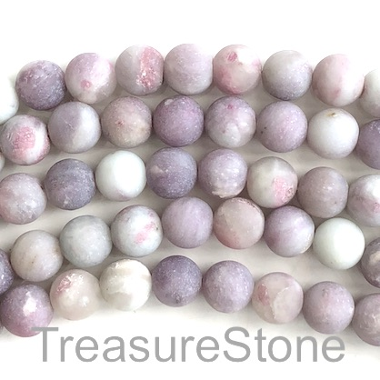 Bead, purple jasper, 8mm round matt, grade B. 15-inch, 46pcs