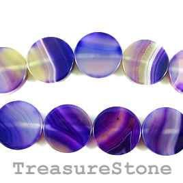 Bead, agate (dyed), purple, 20mm flat round. 16-inch