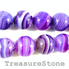Bead, agate (dyed), purple, 16mm round. 15.5-inch