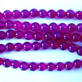 Bead, fuchsia agate(dyed), round 6mm. 16-inch strand