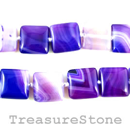 Bead, agate (dyed), purple, 18mm square. 16-inch