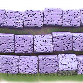 Bead, lilac Lava (dyed), about 10mm cube. 19pcs.