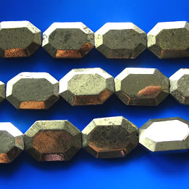 Bead, pyrite, 25x35x8mm flat faceted freeform. 11 pcs.