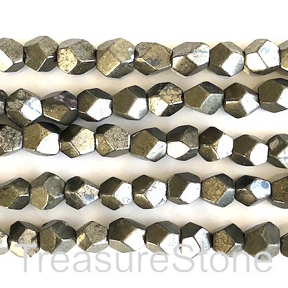 Bead, pyrite, 8mm faceted nugget, star cut. 15.5-inch, 45pcs