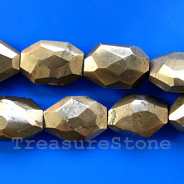 Bead, pyrite, faceted nugget.16-inch strand.