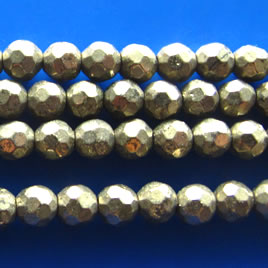 Bead, pyrite, 4mm faceted round. 16 inch strand.