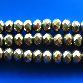 Bead, pyrite, 8x12mm faceted rondelle. 15.5-inch strand.
