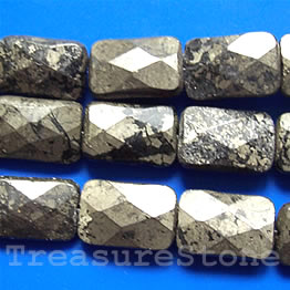 Bead, pyrite, 10x15mm faceted flat Rectangle. 16-inch strand.