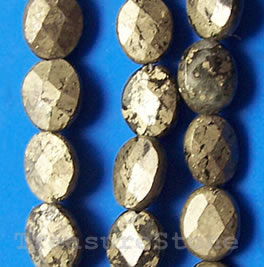Bead, pyrite, 8x10mm faceted puffed oval. 16-inch strand.