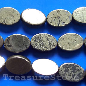 Bead, pyrite, 10x14mm flat oval.16-inch strand.