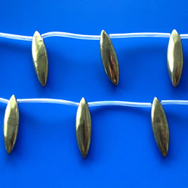 Bead, pyrite, 9x30mm teardrop. 12pcs.