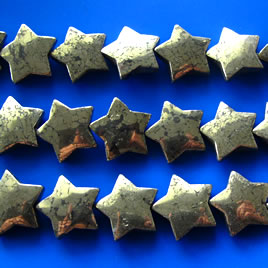Bead, pyrite, 21mm flat star. 22pcs.