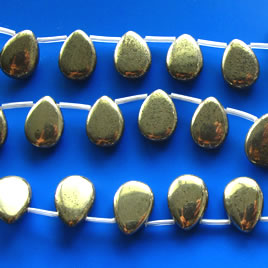 Bead, pyrite, 15x20mm puffed teardrop. 20pcs