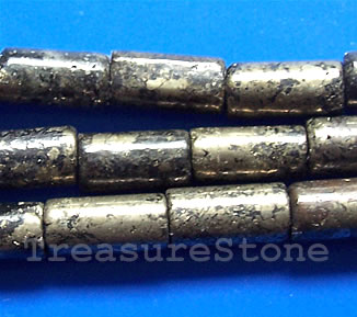 Bead, pyrite, 6x13mm tube. 16-inch strand.