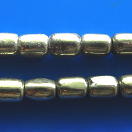 Bead, pyrite, 6x7mm tube. 16 inch strand.