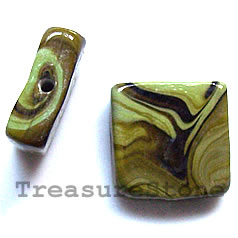 Bead, lampworked glass, 17x20x6mm rectangle. pkg of 4.