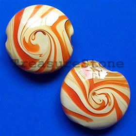 Bead, lampworked glass, 18x10mm puffed round. Pkg of 4.