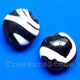 Bead, lampworked glass, black, 19x10mm puffed round. Pkg of 5.