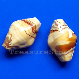 Bead, lampworked glass, 14x21x10mm. Pkg of 5.