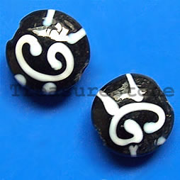 Bead, lampworked glass, black, 17x9mm puffed round. Pkg of 6.