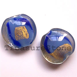 Bead, lampworked glass, 19x9mm puffed round. Pkg of 5.