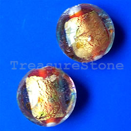 Bead, lampworked glass, 15x9mm puffed round. Pkg of 5.