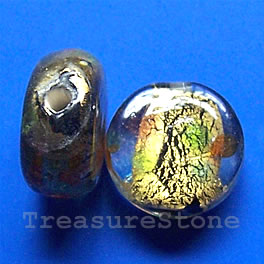 Bead, lampworked glass, 15x7mm flat round. Pkg of 5.