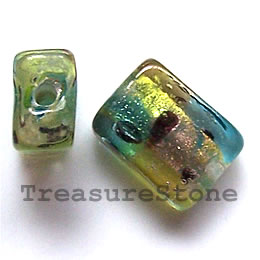 Bead, lampworked glass, 11x15x8mm rectangle. Pkg of 5.
