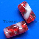 Bead, lampworked glass, red, 12x19mm shaped tube. Pkg of 5.