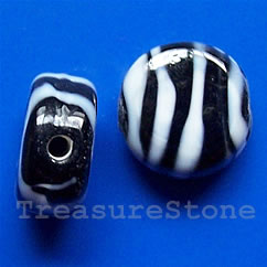 Bead, lampworked gla, black & white,15x7mm flat round. Pkg of 5.