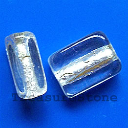 Bead, lampworked, silver foil, 12x15x17mm rectangle. Pkg of 5.