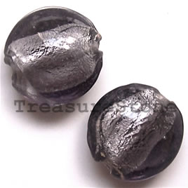 Bead, lampworked glass, grey, 19x9mm puffed round. Pkg of 5.