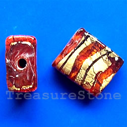 Bead, lampworked glass, red, 11x14x6mm rectangle. Pkg of 5.