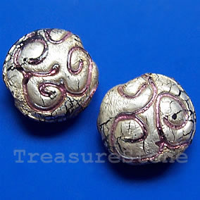 Bead, lampworked glass, silver foil,19x9mm puffed round.Pkg of 2