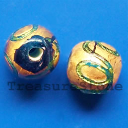Bead, lampworked glass, gold_foil, 11mm round. Pkg of 5.