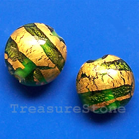 Bead,lampworked glass, green+gold, 14x8mm puffed round. Pkg of 4