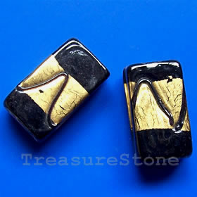 Bead, lampworked glass, gold foil,8x11x20mm rectangle. Pkg of 4.