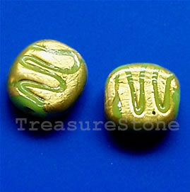 bead, lampworked glass, gold foil, 11x3mm. Pkg of 5.