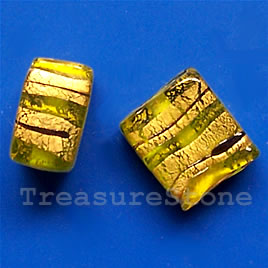 Bead, lampworked glass, green+gold,11x14x7mm rectangle. Pkg of 5