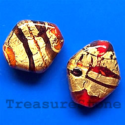 Bead, lampworked glass, gold foil, 13x18x6mm. Pkg of 4.