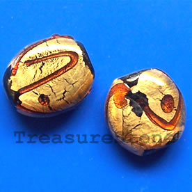Bead, lampworked glass, gold foil, 12x19x6mm. Pkg of 5.