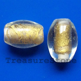 Bead, lampworked glass, gold, 10x14mm oval. Pkg of 6.
