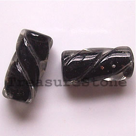 Bead, lampworked glass, black, 10x21mm round tube. Pkg of 6.